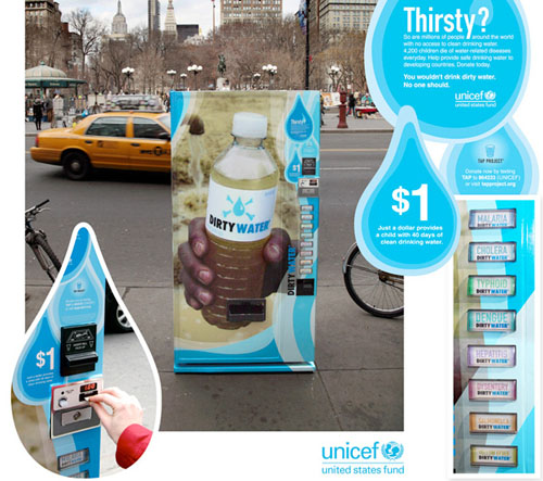 Fake 'dirty water' vending machine